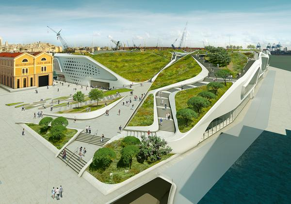 The Ponte Parodi waterfront development will feature a large rooftop park