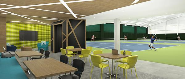 The Venus Williams-designed Tennis Lounge features a bright yellow, green and teal colour scheme