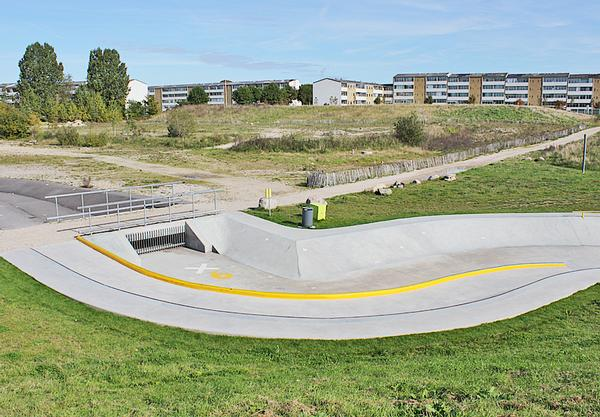 SNE Architects answered the problem of flooding with a skate park that drains away rainwater