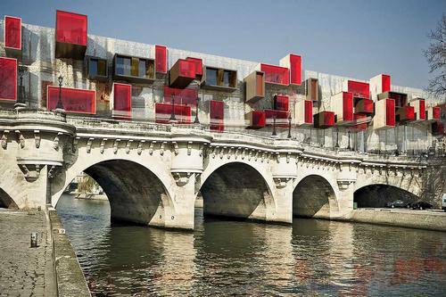 In 2014, Malka proposed cultural volumes which could be attached to bridges / Malka Architecture
