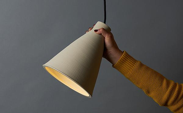 Earthenware and porcelain prototypes were created for the light by Fereday and ceramic artist and academic Susan Chen