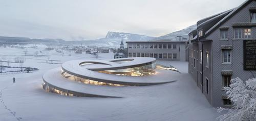 The structure by BIG is an intricate spiral pavilion, like the movement of a fine time piece / BIG