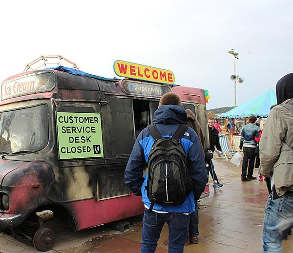 A burned out ice cream van helped to create an unsettling feel