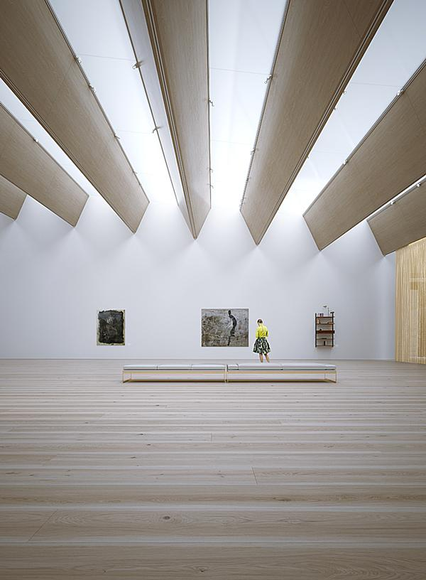 Long beams are angled to allow the maximum amount of natural light into the art galleries