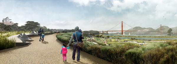 The Presidio Parklands project will link an existing park with the San Francisco Bay, with the park covering a major roadway