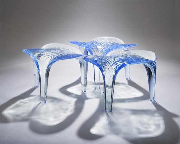 Set of three stools exhibited at the David Gill Gallery / Martin Slivka