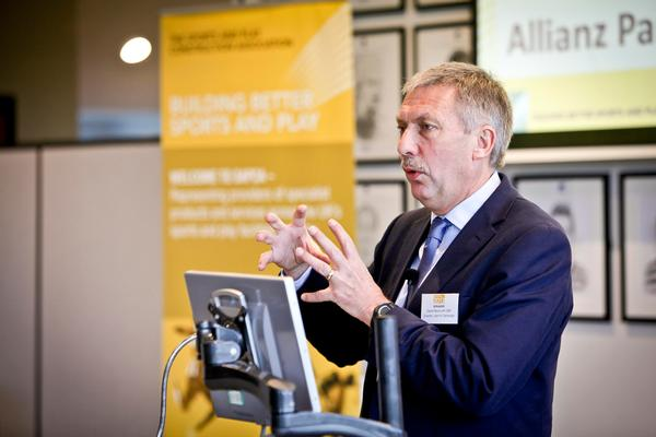 David Moorcroft speaking at the Sports Facility Show at Allianz Park