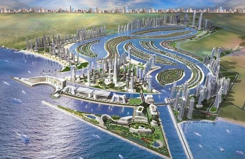 The theme park will sit on one of a series of ten Islands interconnected by man-made canals / Jack Rouse Associates