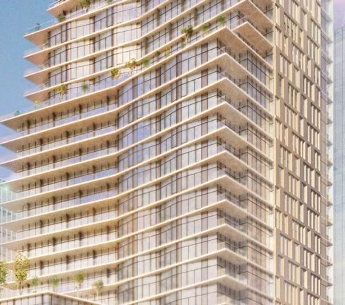 The 32-storey downtown hotel and residential project is designed by Handel Architects / Proper Hotels