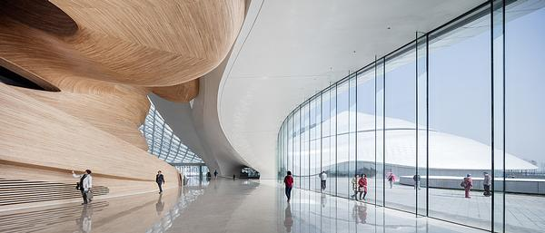 Visual references to the natural world are present in the building's exterior and its fluid, interior