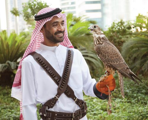 In keeping with the traditional Arabian theme, guests are greeted by a falconer in traditional garb with a bird of prey perched on his arm
