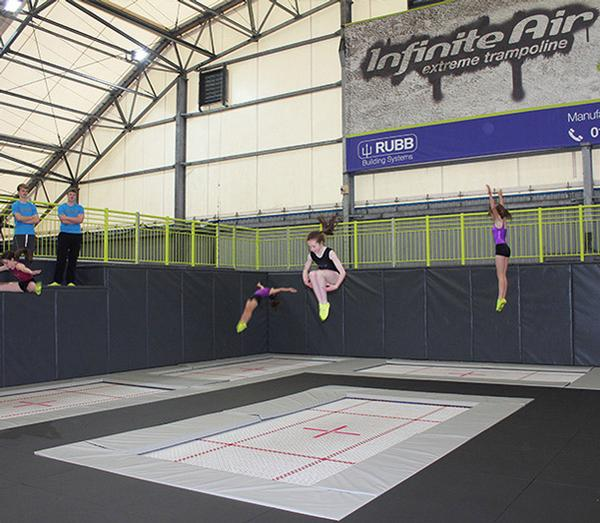 The 35,000sq ft space features more than 80 interconnected trampolines and other facilities