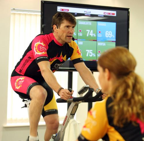 Live streamed heart rates appear on large screens allowing riders to monitor their progress and ensure instructors are teaching to each rider's individual target zone