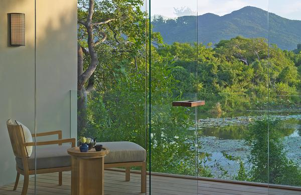 The spa at the Amanoi in Vinh Hy Bay, Vietnam, has a view of the lake and floating yoga pavilion