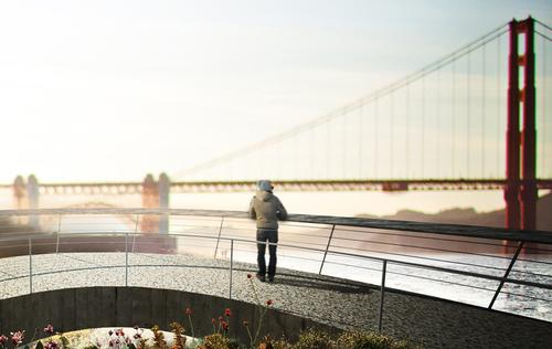 The new Presidio Park Project will offer spectacular views of San Francisco's Golden Gate Bridge / James Corner Field Operations
