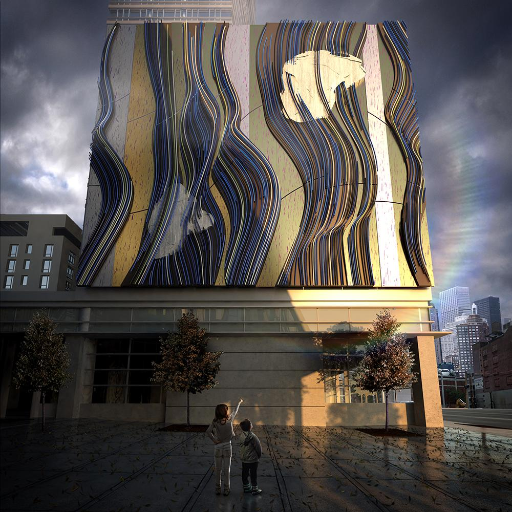 Artist Stephen Glassman has created a special eight-story public sculpture to be located at the entrance to the building / The Durst Organization/Via West 57