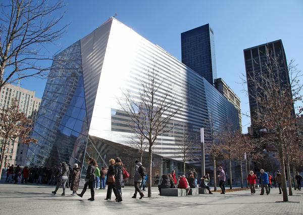 The pavilion is designed to encourage interaction and reflection. It's the only building on the plaza