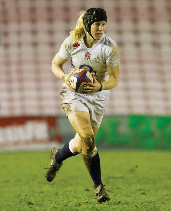 Englnad Rugby Captain and World Cup winner Tamara Taylor trains on the Wattbike
