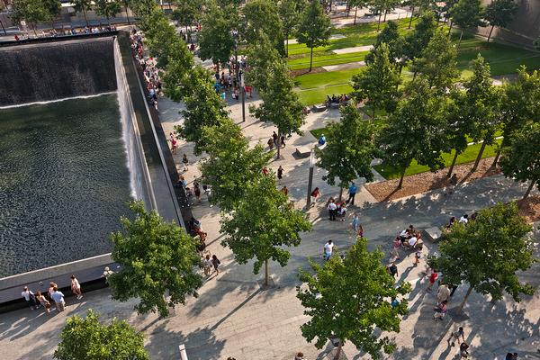 The eco-friendly public plaza where over 400 trees surround the reflecting pools