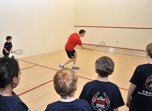 James Willstrop tries out the the new court with young squash players