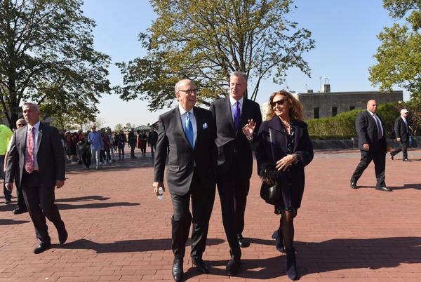 Von Furstenberg and New York Mayor Bill de Blasio were among those at the museum's groundbreaking event