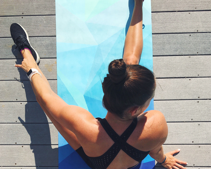 The eco-friendly yoga mats are made from recycled plastic bottles