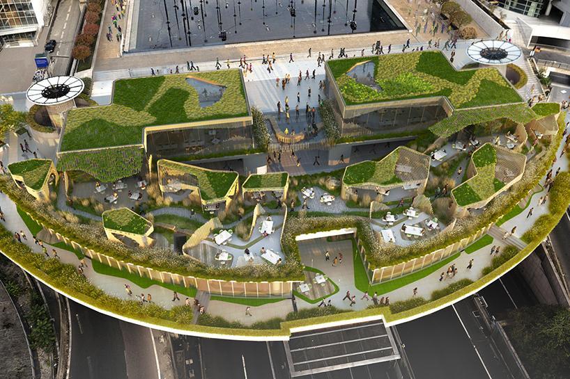 stephane malka wins design competition for a multi level garden in paris 39 business district. Black Bedroom Furniture Sets. Home Design Ideas