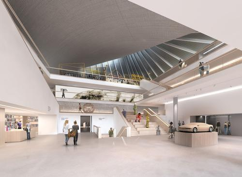 A rendering of the inside of the new Design Museum, the new site has three times more space to showcase excellence in design / Alex Morris Visualization and John Pawson