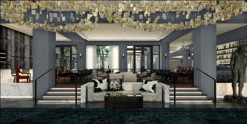 The lobby of The Logan hotel, part of Hilton's Curio collection. It is scheduled to open in Q3 2015 / Dawson Design Associates