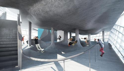 The skate park is designed to attract international-level sports talent / Guy Hollaway Architects