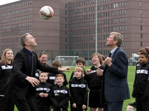 Councillor Richard Lewis and justice secretary Kenny MacAskil with Leith Athletic players
