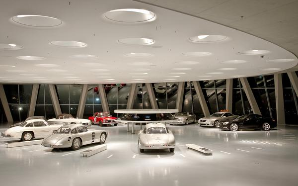 One of the ramps leads into a series of galleries displaying Mercedes-Benz' vehicles