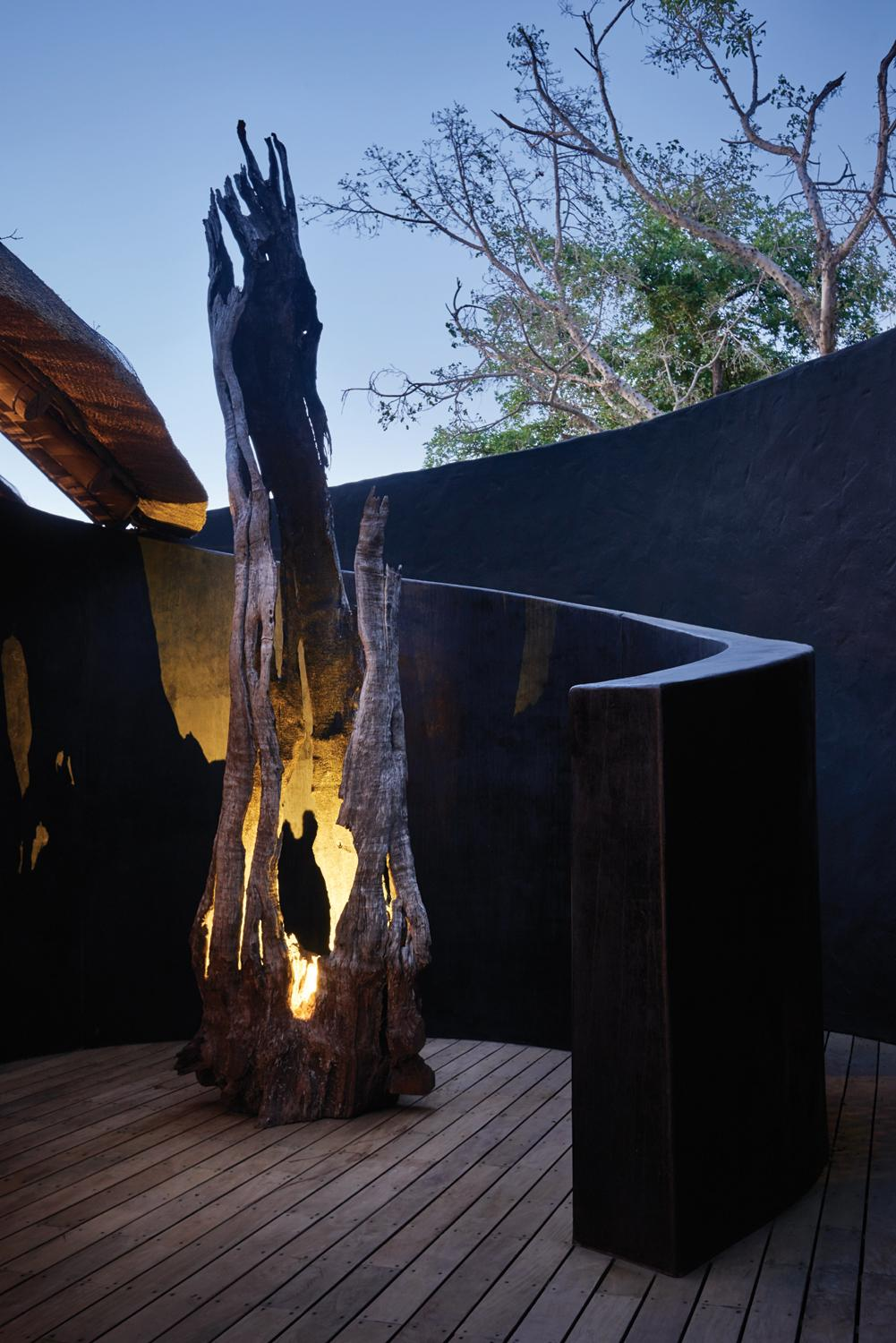 Many of elements are artisanal, specially commissioned and hand-made in Africa by Simon Beebe of BB Designs / Belmond Eagle Island Lodge Botswana