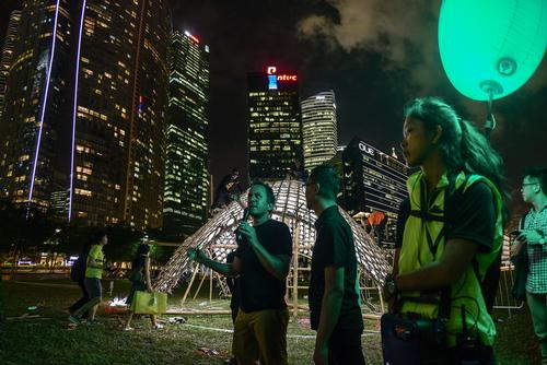 The installation is being displayed at i Light Marina Bay, Asia's leading sustainable light art festival / Urban Redevelopment Authority.