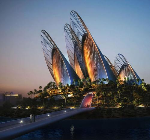 The museum is to feature five gallery towers representing falcon wings.