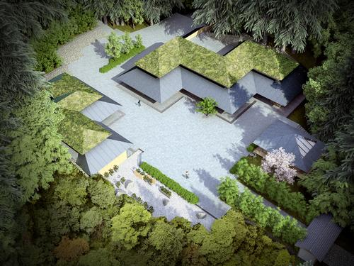 Designs show three pitched-roof buildings with wooden facades, sited around a central courtyard / Kengo Kuma & Associates