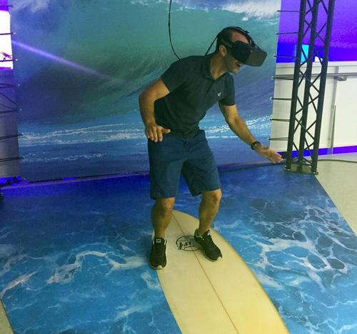 The virtual reality experience is custom-made for the museum, and enables the player to surf three famous waves