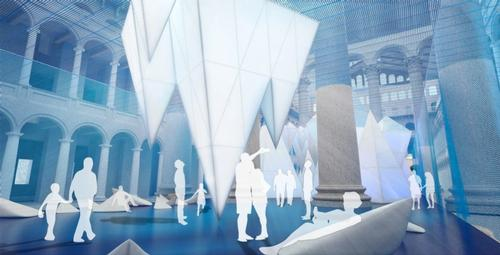 Reusable construction materials such as scaffolding and polycarbonate paneling represent caves and grottoes on the ocean floor, and icebergs floating on the 'water line' / James Corner Field Operations/National Building Museum