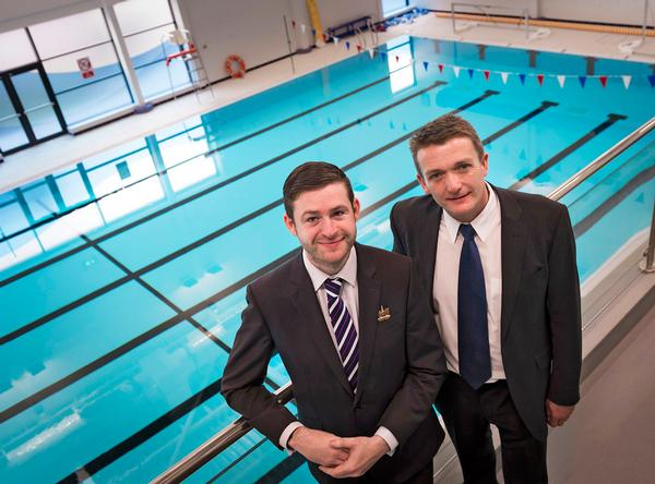 Jim McMahon MP, former leader of Oldham Council with Stuart Lockwood, CEO of Oldham Community Leisure at the opening of the new Oldham Leisure Centre.