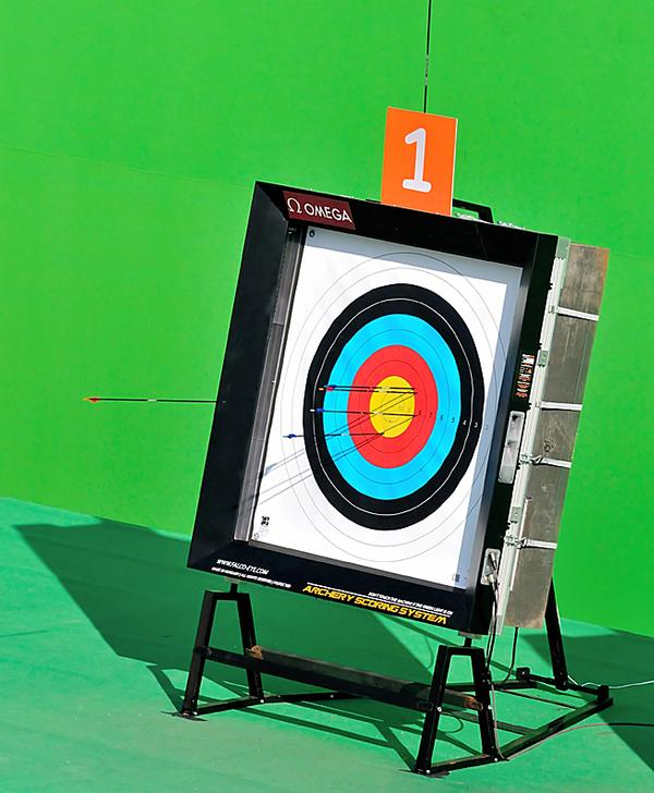 The targets – supplied by Swiss timing specialist Omega – will speed up the scoring of the archery competition