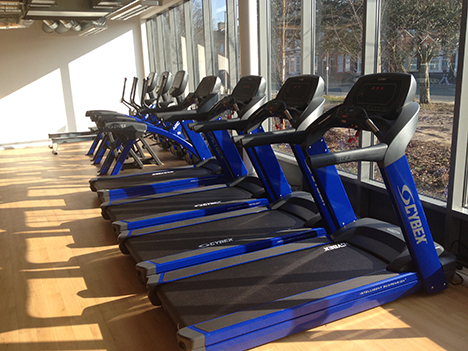 The gym equipment was personalised with blue frames and customised upholstery