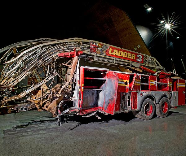 A destroyed fire truck from Ladder Company 3 that helped people escape