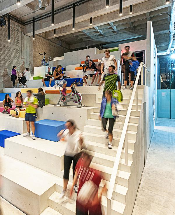 The concrete stairway is a great community space