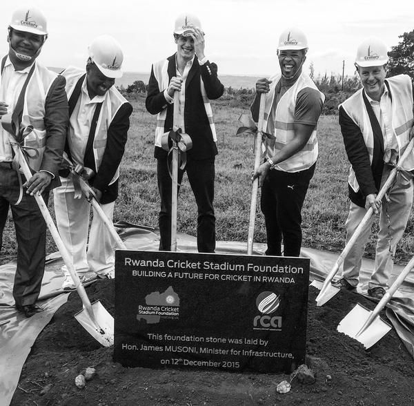 Alby Shale, third from left, helps break ground on the stadium his father envisaged before his death in 2011