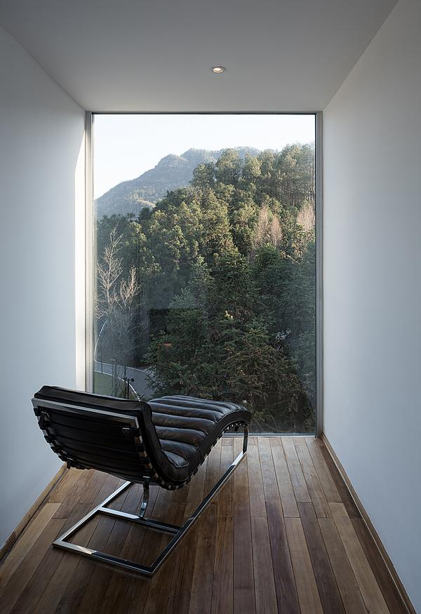 The 'landscape room' is the top storey, where hotel guests can enjoy the forest view