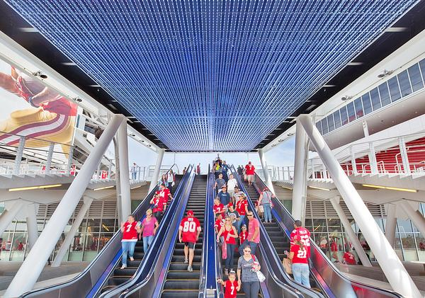 The LEED-certfied Levi's Stadium boasts 2,000sqm of solar panels and a green roof