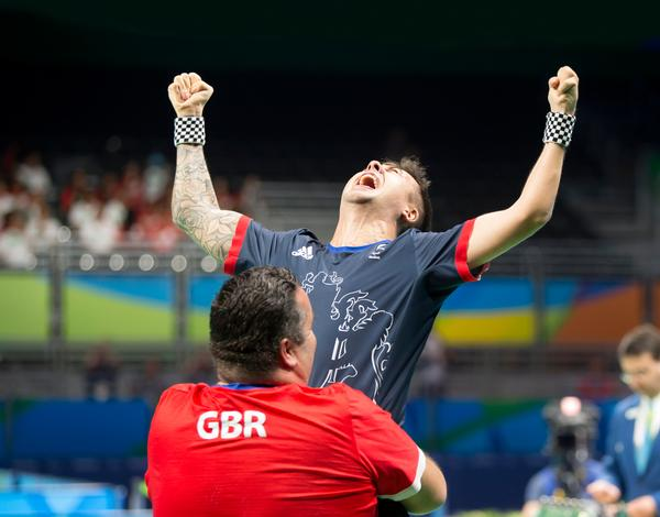 Will Bayley celebrates his gold medal win in the table tennis final at Rio