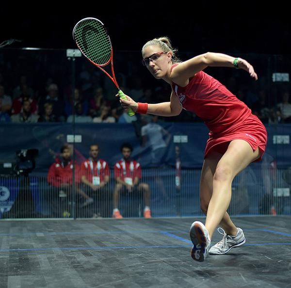 Laura Massaro playing in the women's doubles pool match at the 2014 Commonwealth Games in Glasgow
