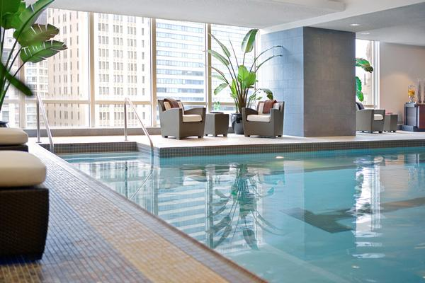 The pool at The Spa at Trump has a view over the Chicago River