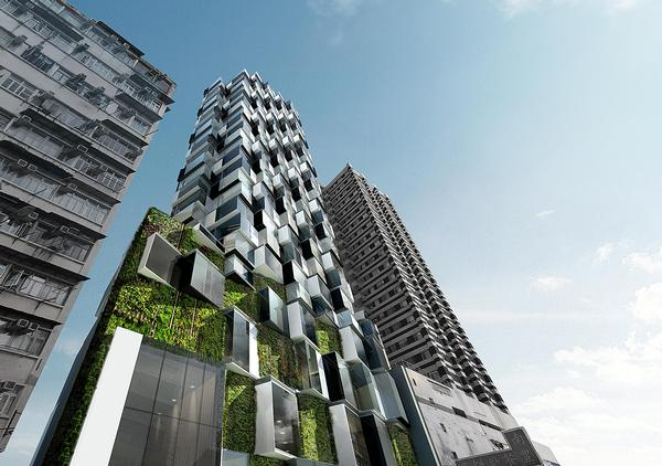Inspired by lichen, Aedas designed the Mongkok Residence with green walls to improve air quality